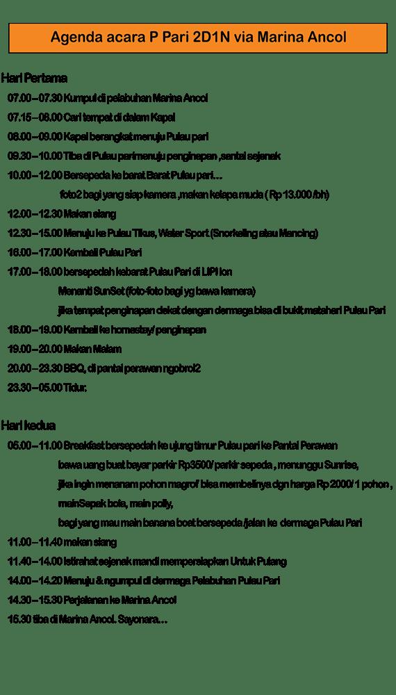 acara pulau pari 2 hari 1 malam dari ancol